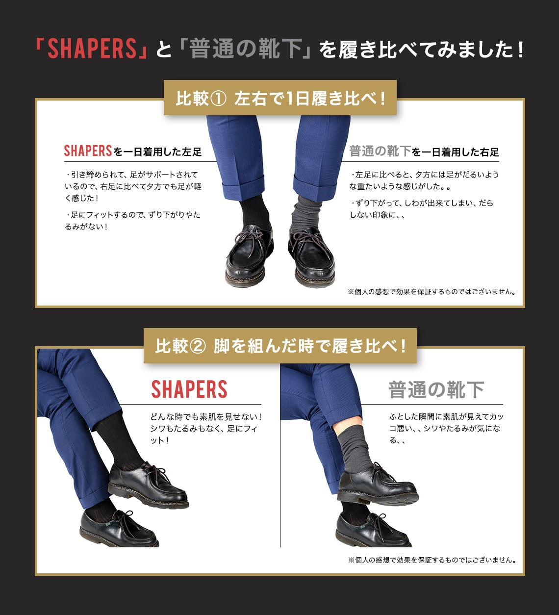 「SHAPERS」と「普通の靴下」を履き比べました!
