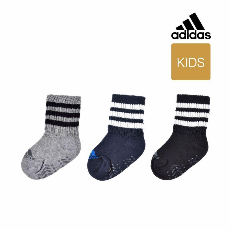 ベビー adidas 3足組 ワンポイントロゴ ミニ丈ソックス