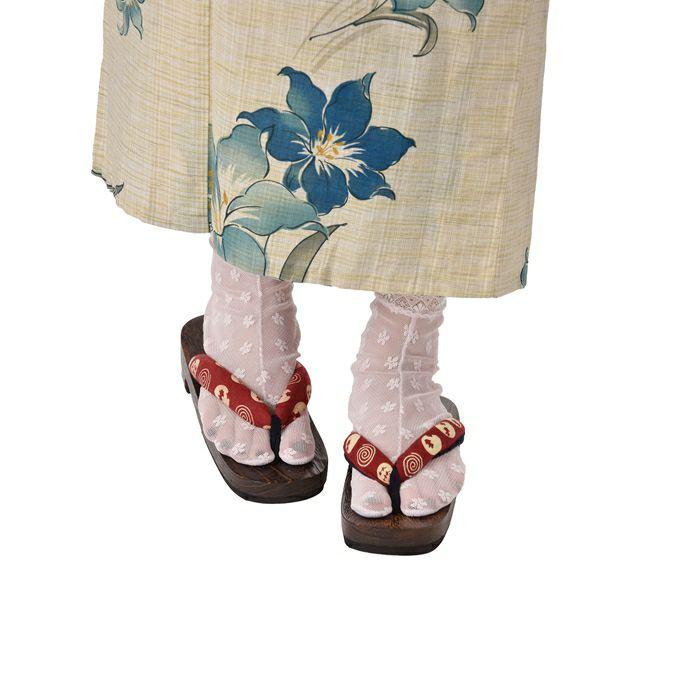 花柄レース足袋(桃色)