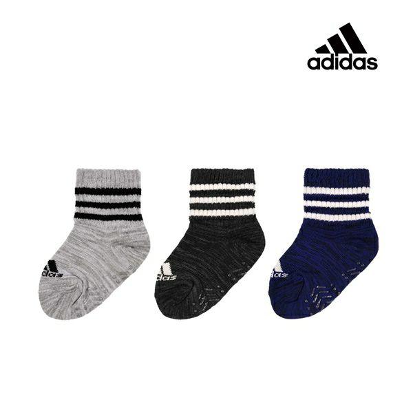 ベビー adidas(アディダス) 3足組 3ライン ショート丈 ソックス