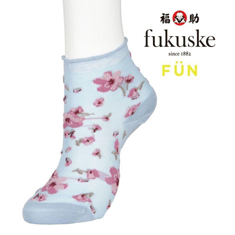 レディースfukuskeFUN甲テグスラメ花柄ショート丈ソックス