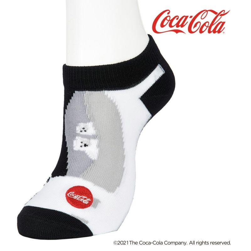 レディース「Coca-Colaコカ・コーラ」ポーラーベア刺繍スニーカー丈ソックス