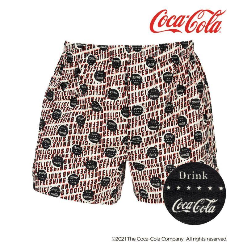 メンズ 「Coca-Cola コカ・コーラ」 総柄 前開き 布帛 トランクス