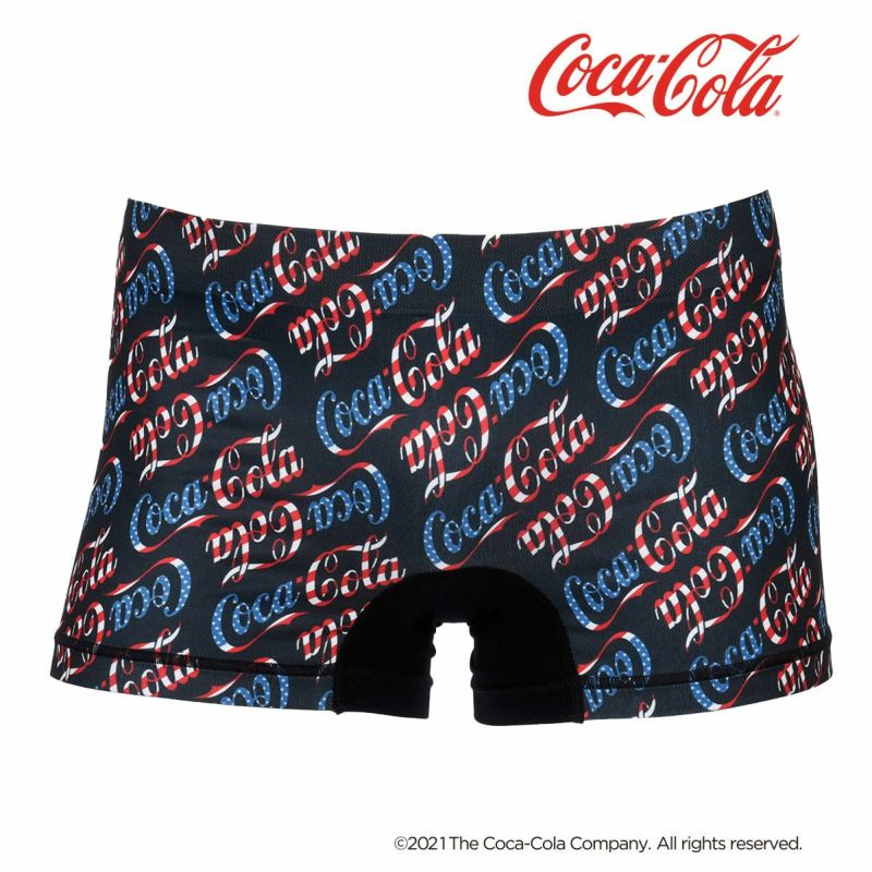 メンズ「Coca-Colaコカ・コーラ」斜めロゴ前閉じ成型プリントボクサーブリーフ