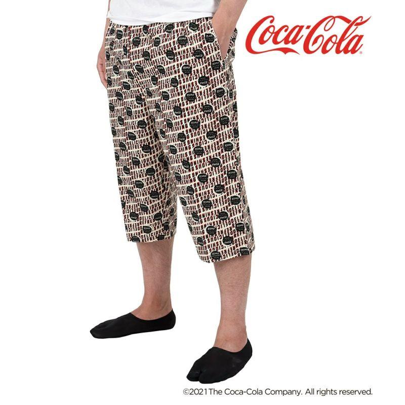 メンズ「Coca-Colaコカ・コーラ」総柄前開き布帛ステテコ